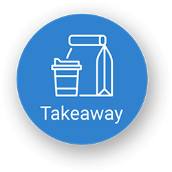 Blue circle with take away food and drink