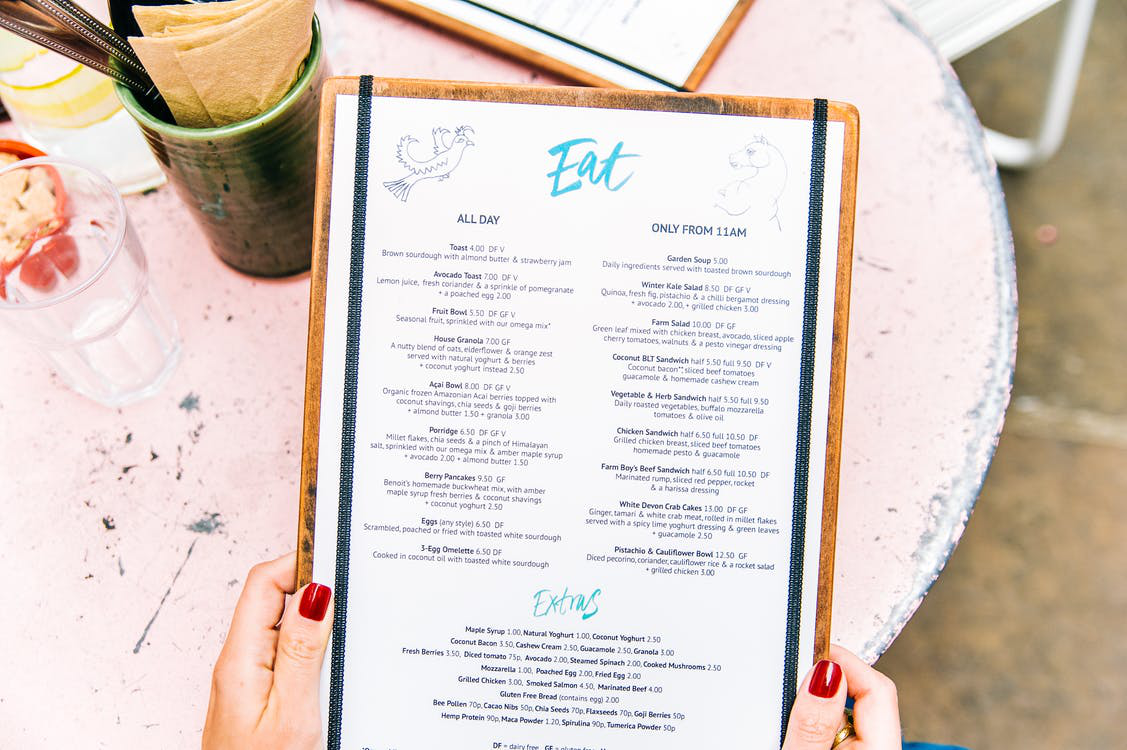 A small restaurant menu with a curated list of offerings.