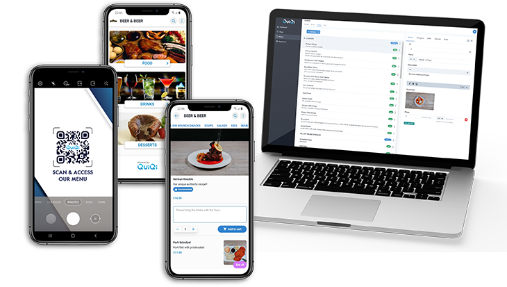 QuiQi e- menu and ordering method for the future, e-menu for restaurants, bars, cafes, cloud based ordering method for restaurants