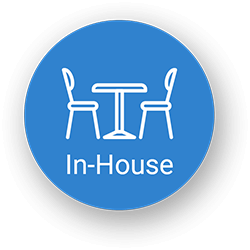 Blue circle with two chairs and a table